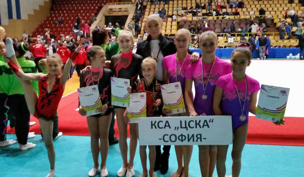 The CSKA acrobatics team with silver and 2 bronze medals in Burgas
