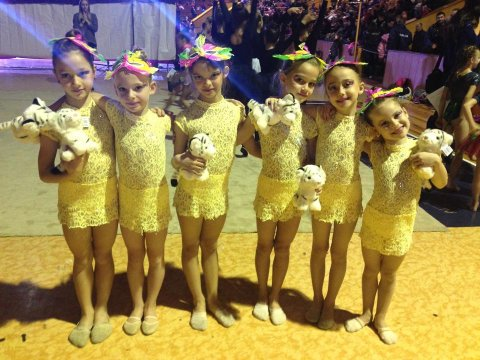 The little CSKA gymnasts with a medal at the Gimnastriada