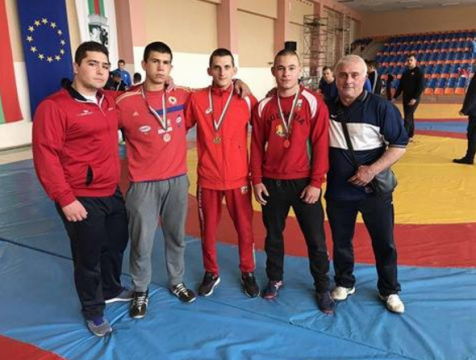CSKA with a wrestler at the European and World championship