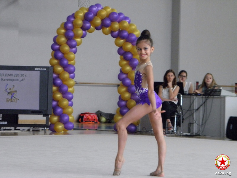 CSKA girl with a medal in the rhythmics championship